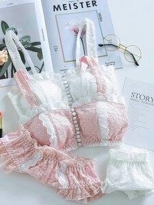 Image 3 - Wriufred Conjunto de sujetador con hebilla frontal de encaje para niña, ropa interior vintage, dulce, retro, sin anillo de acero, blanco, rosa, ropa interior para mujer