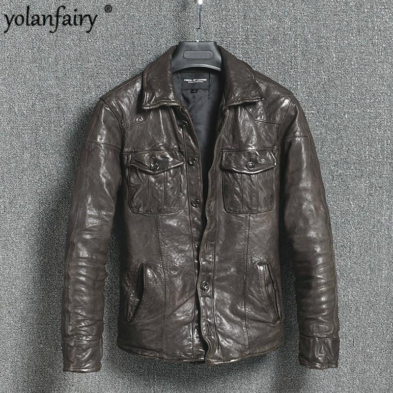 Genuine Leather Jacket Vintage Slim Men's Leather Jacket Men Motorcycle Sheepskin Coat Short Jaqueta Couro 16301888M01-2 YY411