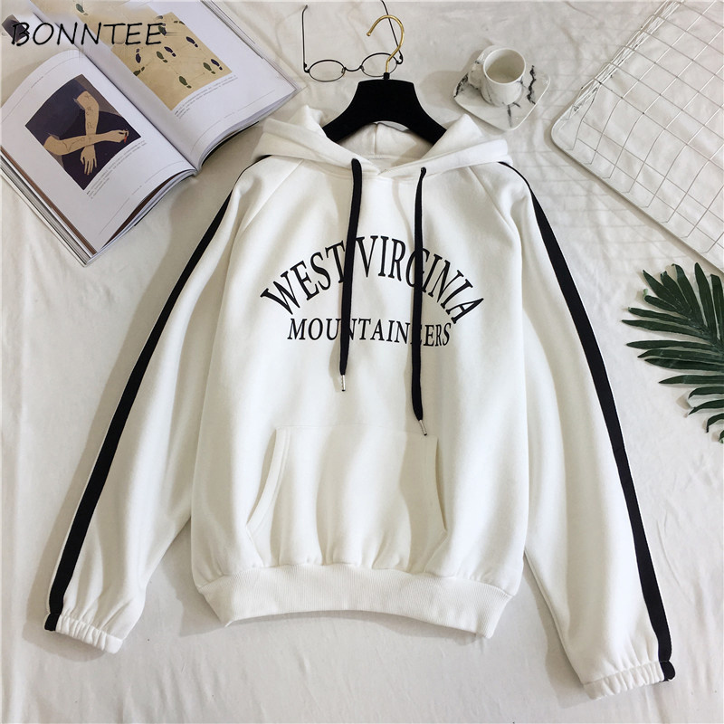 Womens Hoodie Striped Harajuku Printed Loose Trendy Korean-Style Chic All-Match Letter