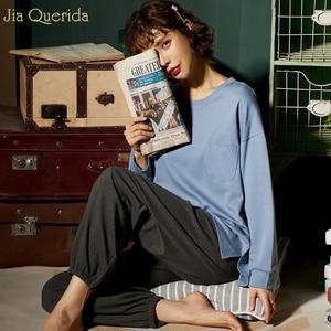 Image 3 - Pijamas de outono feminino conjunto de pijamas de lazer das mulheres ternos de algodão em casa usar tamanho solto estudante menina roupa de casa nova pijamas mujer