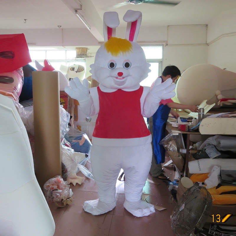 Easter bunny cartoon character costume custom animation around vest rabbit