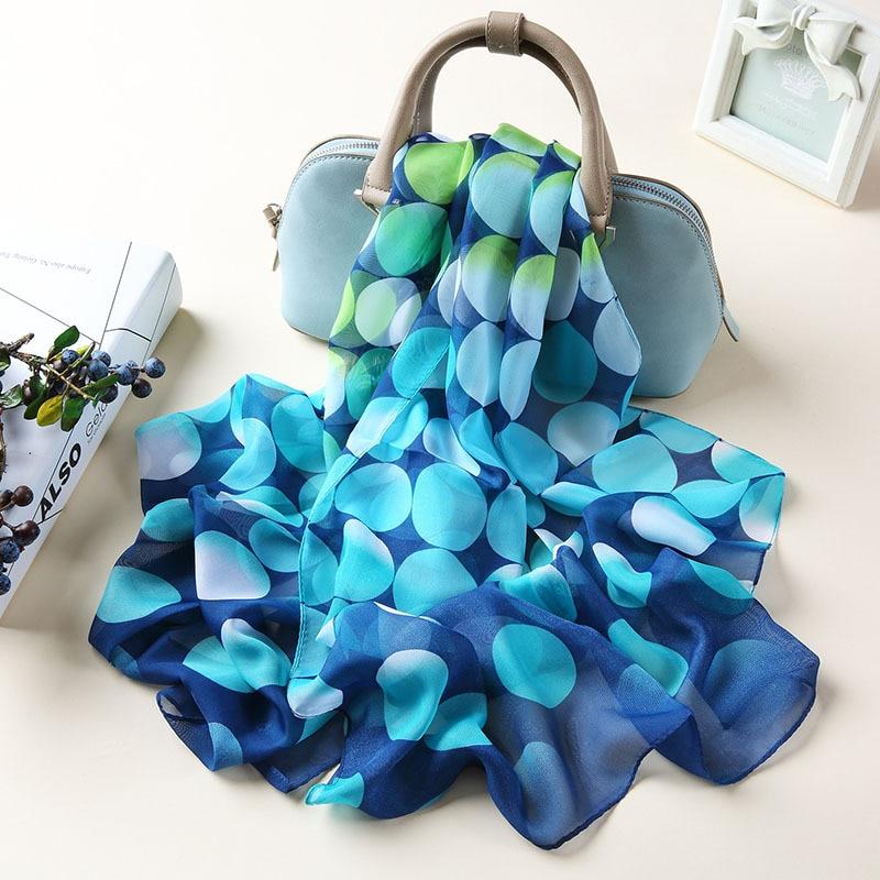 Silk Scarves Woman Spring  Autumn Long Dots Printed Shawl Scarf Ladies Chiffon Autumn And Winter Beach Scarf Wraps