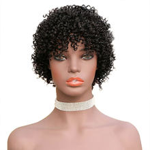 HJ Weave Beauty Afro Kinky Curly Human Hair Wig Short Bob Wigs Pre Plucked Hairline Full Machine Wigs Remy Hair Wig 150 Density(China)