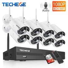 Techege 8CH 1080P NVR 오디오 감시 키트 플러그 앤 플레이 8pcs 2MP HD 무선 방수 야간 보안 CCTV 시스템