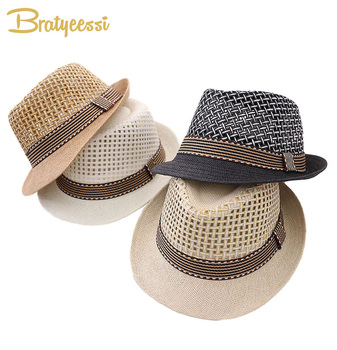 New Kids Hat Summer Panama Jazz Fedora Baby Cap Children Boys Beach for Girls Hats 2-6Y