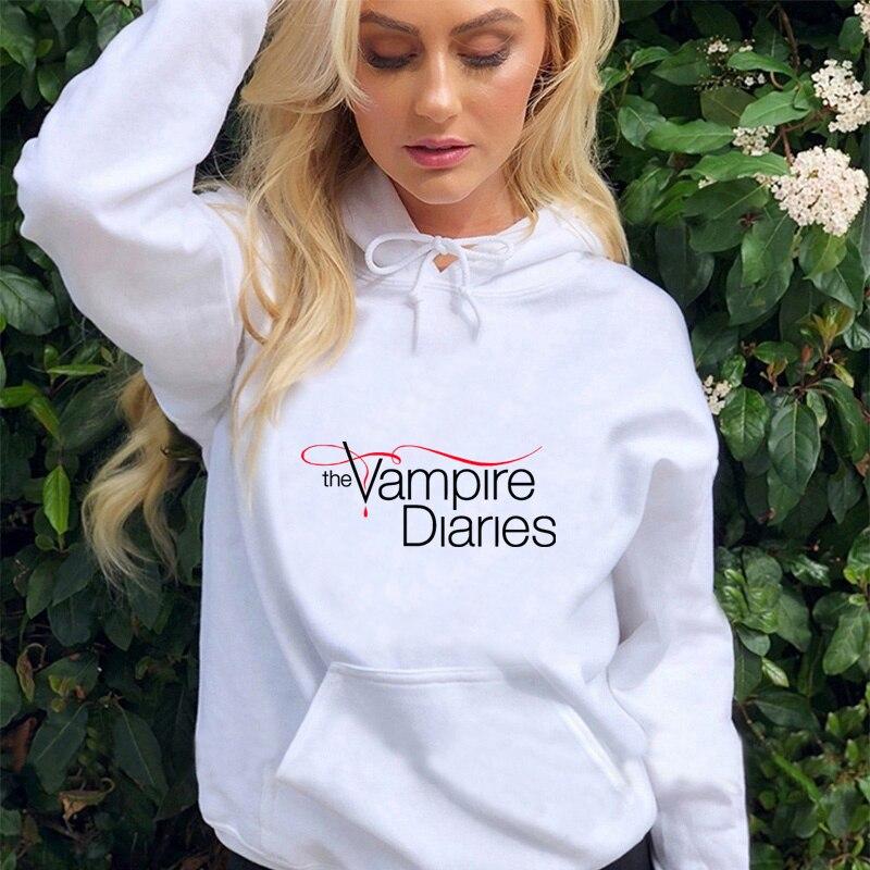The Vampire Diaries Hoodies Long Sleeve Pullovers Sweatshirts Women Casual  Hooded Hoodies Kawaii Korean Harajuku Hip Hop Hoodie