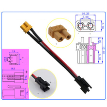 SM Female To XT30 Male Plug Conversion Adapter Line for Water Gel Beads Blaster Battery Modification and Upgrade