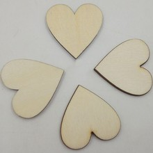 100/50pcs Wood Heart Love Blank Slices Discs Unfinished Natural Crafts Supplies Wedding Ornaments