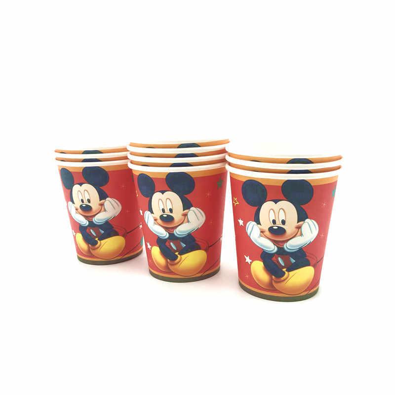 Mickey Mouse Thema Verjaardagsfeestje Levert Papieren Beker Plaat Rietjes Vlaggen Blowout Party Tafelkleed Kids Favor Speelgoed Decor Ballonnen