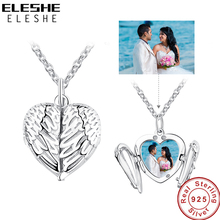 ELESHE 925 Sterling Silver Angel Wing Necklace Pendant for Women Long Chain Necklaces Personalized Custom Photo Heart Jewelry