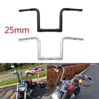 Para harley sportster chopper bobber softail dyna preto/chrome 1 25 25 25mm z barra de puxar guidão da motocicleta 1 pçs|Guidão| |  -