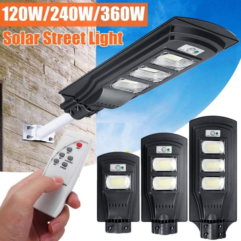 AUGIENB 120 W/240 W/360 W LED lampe solaire lampadaire Super lumineux Radar PIR capteur de mouvement lampe de sécurité pour jardin extérieur