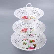 3-х уровневая подставка для торта в виде пирожного в чашке с подставкой чудодейственное, с ПВА пластина стойка конфеты Дисплей трехслойный торт стеллаж для выставки товаров инструмент для выпечки