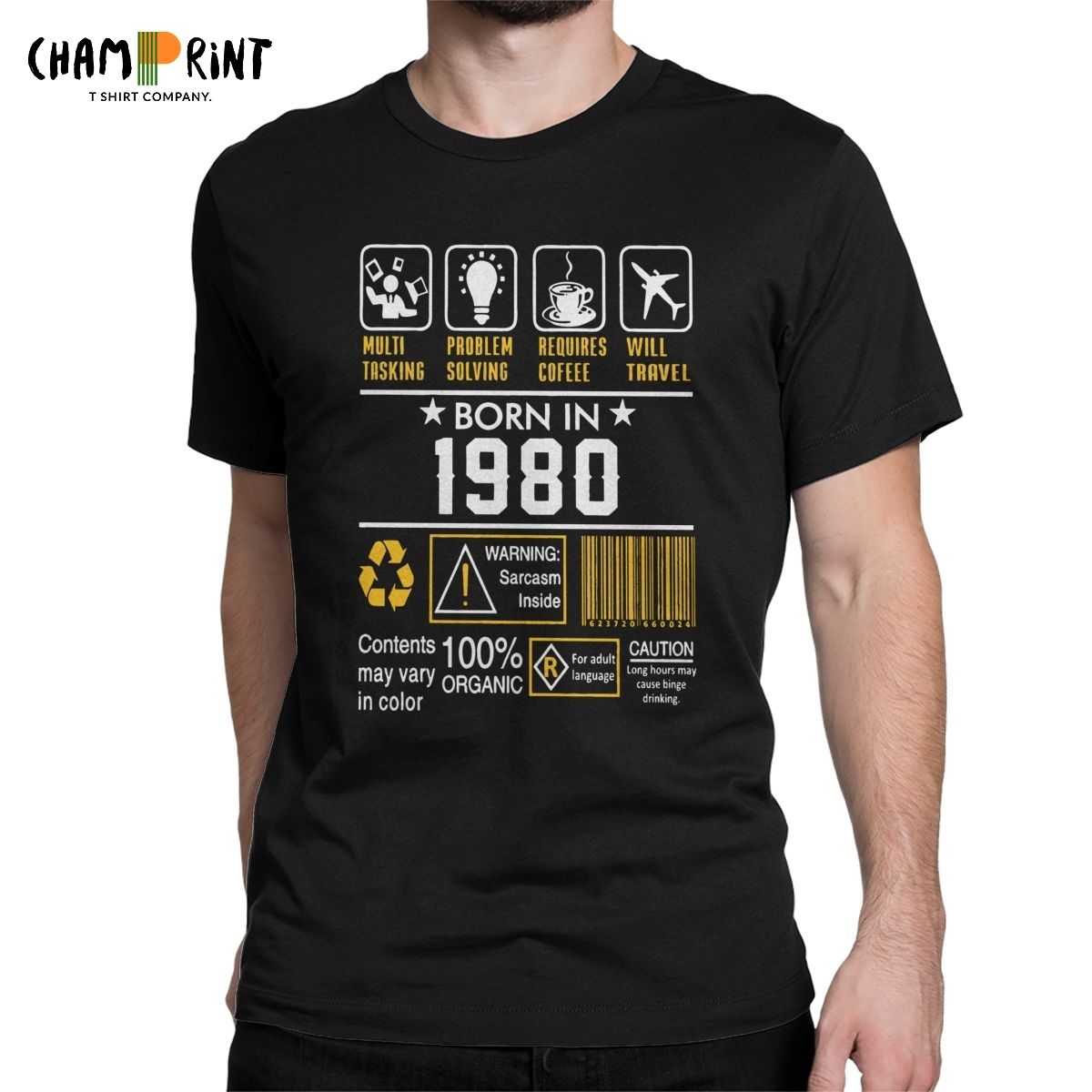 <font><b>Men</b></font> T-Shirt <font><b>40th</b></font> <font><b>Birthday</b></font> Gift <font><b>Ideas</b></font> Born In 1980 Fun Cotton Tees Short Sleeve 40 Years Old T Shirt Round Collar Clothes 4XL 5XL image