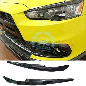 Real Crabon Fiber Head light Eyelid Eyebrow Cover Trim 1pair for Mitsubishi  Lancer EVO X 10 2008-2014 T208 1