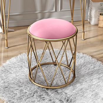 Luxury Nordic Golden iron Dressing Stool Multicolor Change Shoes Small Sofa Stools & Ottomans Living Room Furniture