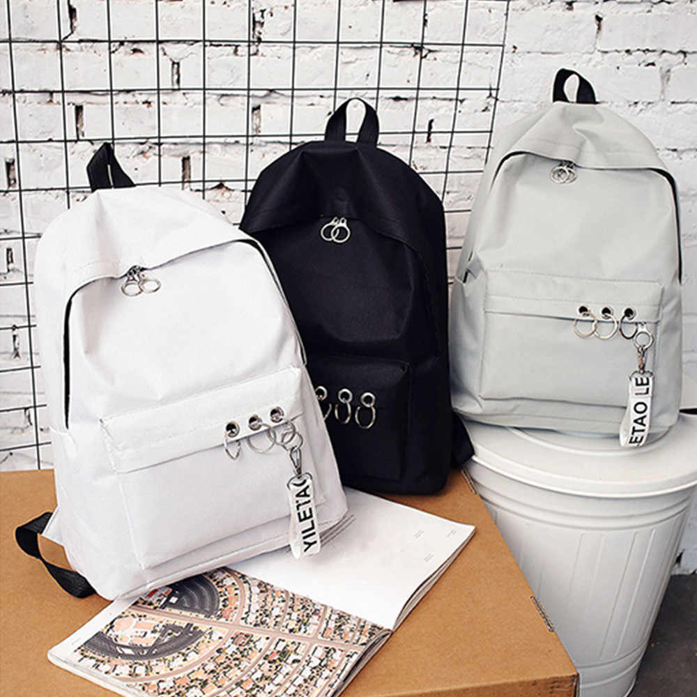 Backpacks Woman 2019 Women's Fashion Ring Decoration Shoulder Bookbags Satchel Travel Backpack Waterproof Laptop Backpack#81