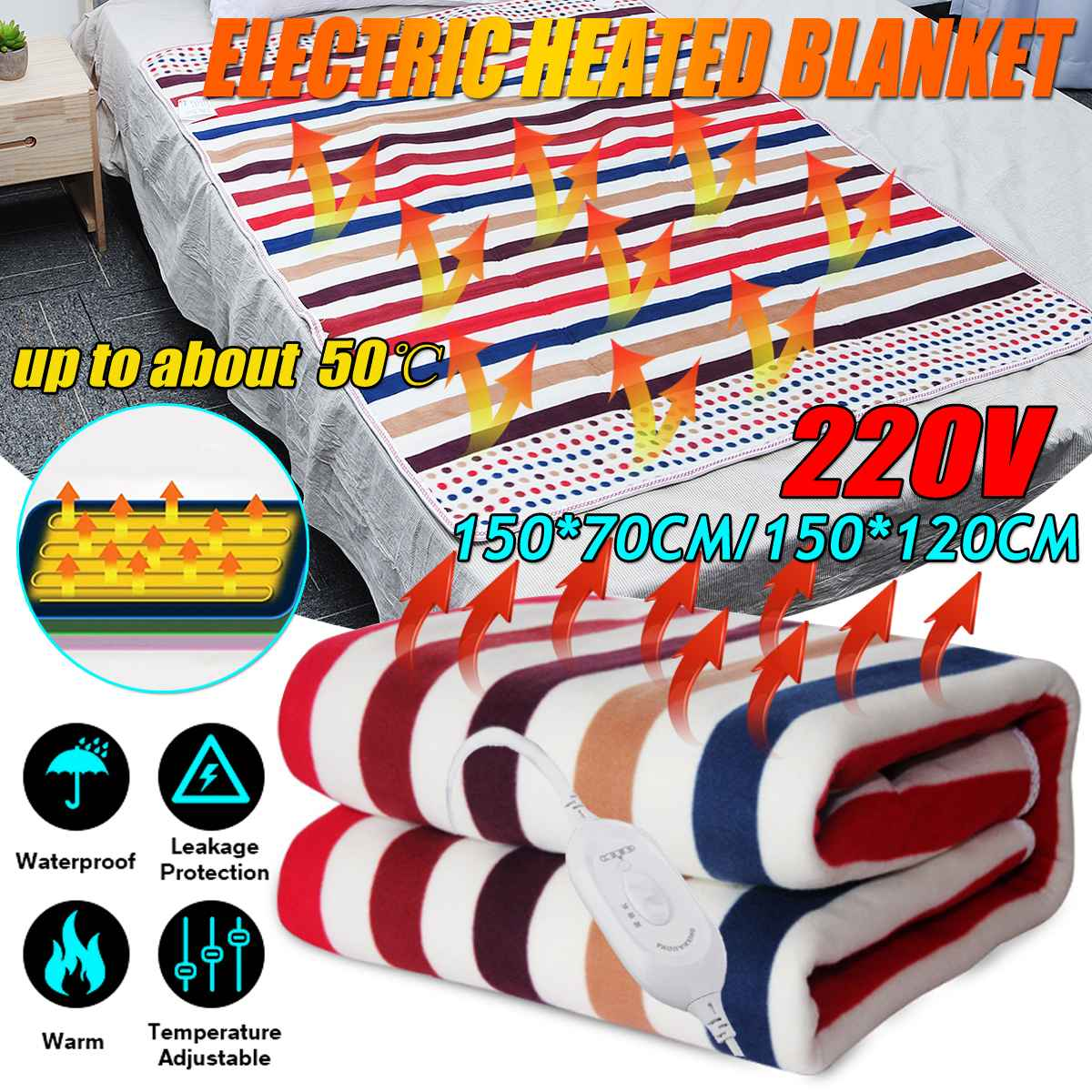 Electric Blanket 220V 150x120cm/70cm Electric Heated Blanket Thicker Heater Winter Warmer Pad Foldable Blanket With Controller