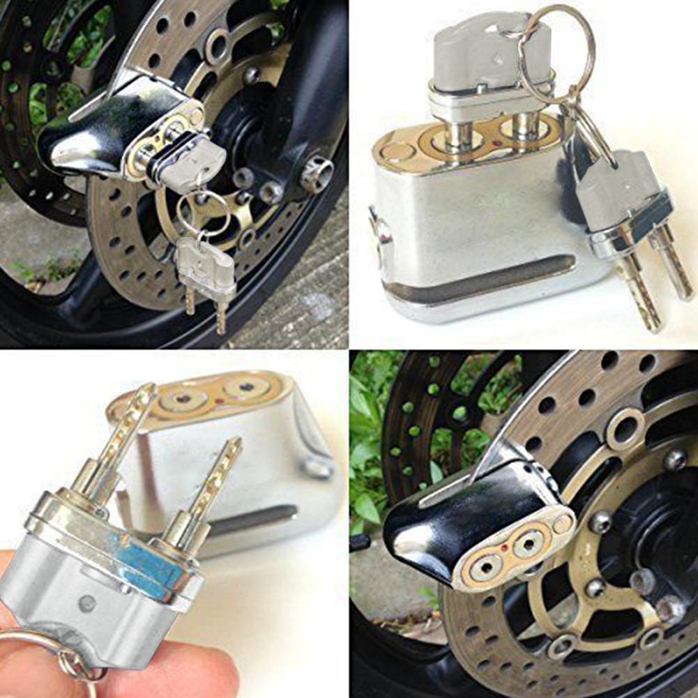 Sturdy Motorcycle Motorbike Dual Core Anti Theft Padlock Security Fixed Durable Key Disc Brake Lock Scooter Universal Practical