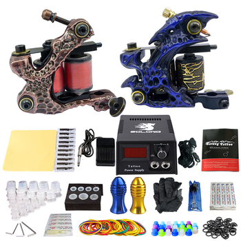 Hot! Tattoo Kit 2 Coils Guns Tattoo Sets Permanent Makeup Machine Tattoo Power Supply Pedal Tattoo Machine Grip Free Shipping 2 tattoo machine guns power supply pigment inks sets body art permanent makeup professional tattoo set
