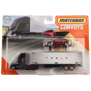 Matchbox Convoys TESLA SEMI BOX TRAILER and TESLA MODEL S Collector Edition Metal Diecast Model Car Toys