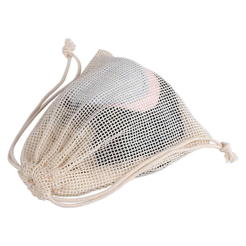 Yüz makyaj çıkarıcı pedleri örgü çanta yüz temizleme puf ped çantası kullanımlık yıkanabilir kozmetik İpli saklama çantası
