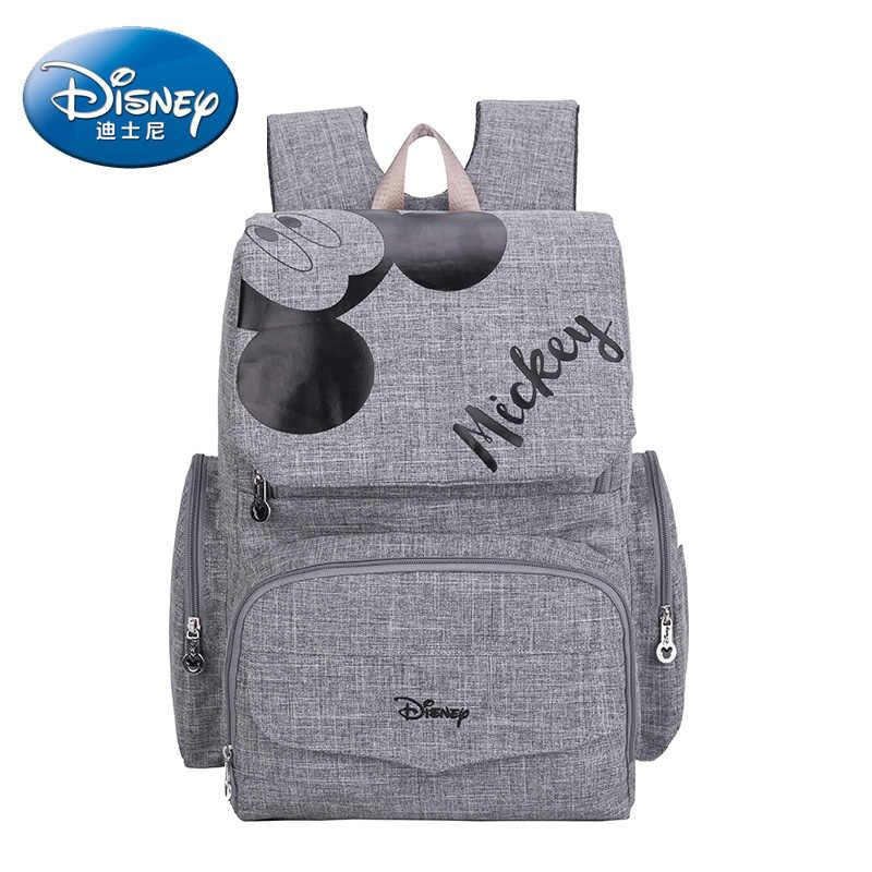 Disney Mochila Saco De Fraldas Bolsa Maternidade Saco De Carrinho De Criança À Prova D' Água USB Aquecedor de Mamadeira Do Bebê Mickey Minnie saco de Viagem Múmia Mochila
