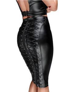 Skirt Zipper-Bandage Wet-Look Faux-Leather Bodycon Black Plus-Size Womens Knee-Length