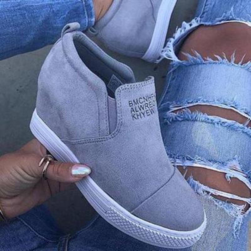 ECN Women's Wedge Shoes 2019 Spring Autumn High Heel Ladies Platform Increasing Shoes Elastic Band Fashion Casual Footwear