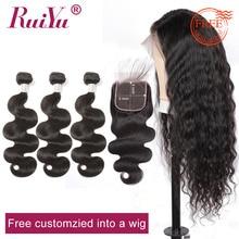 RUIYU индивидуальная волнистая кружевная фронтальная человеческие волосы парики от Remy Body Wave человеческие волосы пучки с закрытием 5x5 Кружева Закрытие