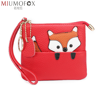 Genuine Leather Coin Purse Women Cute Cartoon Fox Zipper Change Purse Wristlet Bag Kids Coin Organizer Pouch Wallets Girl Gift etya women coin purse cartoon cute headset bag small change purse wallet pouch bag for kids gift mini zipper coin storage bag