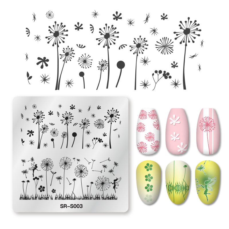 Mtssii 1PC Nail Stamping Plates Square Dandelion Grass Pattern Stainless Steel Nail Art Image Stamp Stencils Design