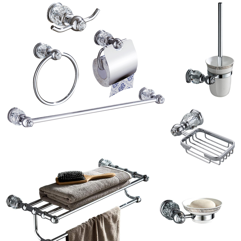 Transparent crystal bathroom hardware four-piece solid copper chrome-plated wall-mounted bathroom accessories set