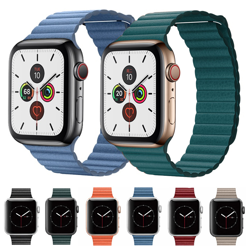 Leather Loop Strap For Apple Watch 5 Band 44mm 40mm Correa Iwatch Band 42mm 38mm Bracelet Watchband Applewatch 3 4 Accessories