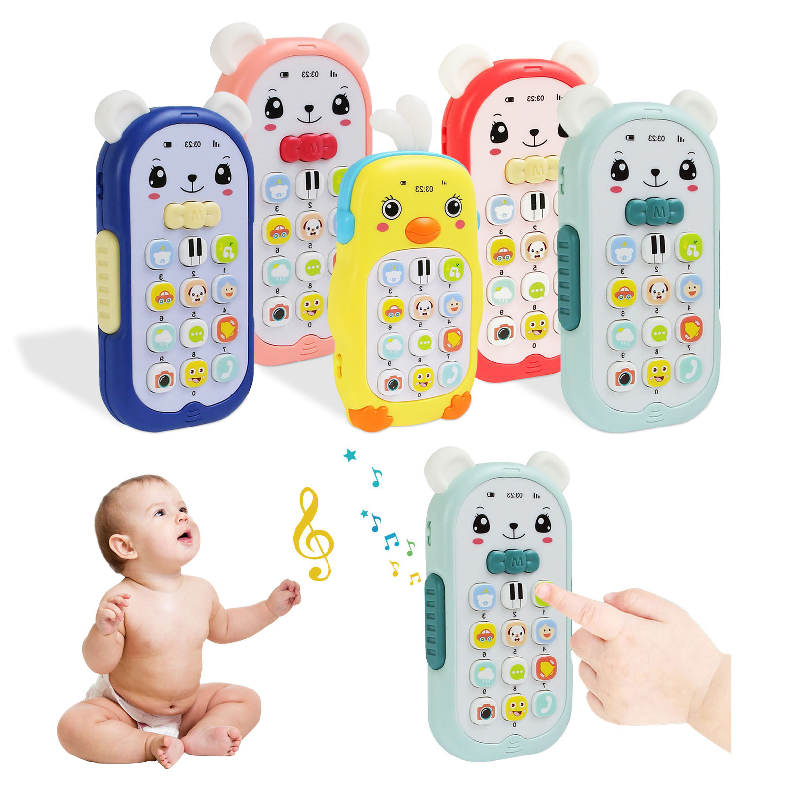 Baby Gutta-percha Toy Face Changing Music Mobile Phone Baby Toys Sleeping Artifact Simulation Telephone Early Educational Toy