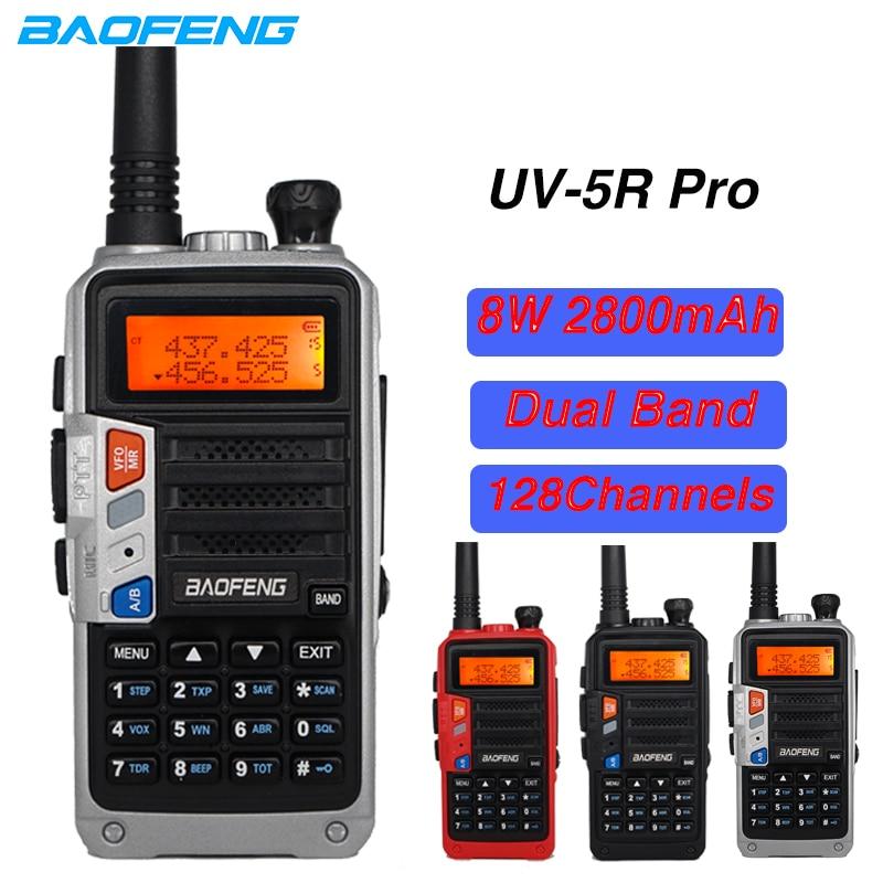 High Power 8W Baofeng UV-5R Pro Walkie Talkie UV5R Two Way Radios Dual Band VHF UHF FM Transceiver 10KM Hungting CB Ham Radio
