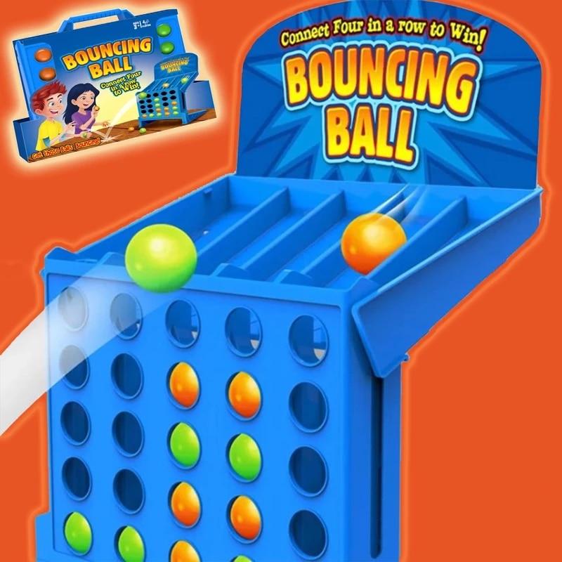 Bouncing ligando tiros brinquedos educativos para crianças portátil jump ball quatro-linha de jogo de tabuleiro de brinquedo para crianças