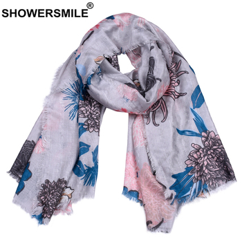 BUTTERMERE Women Scarf Flower Print for Ladies Spring Autumn Shawl Gray Pink Khaki White 2020 New Blanket