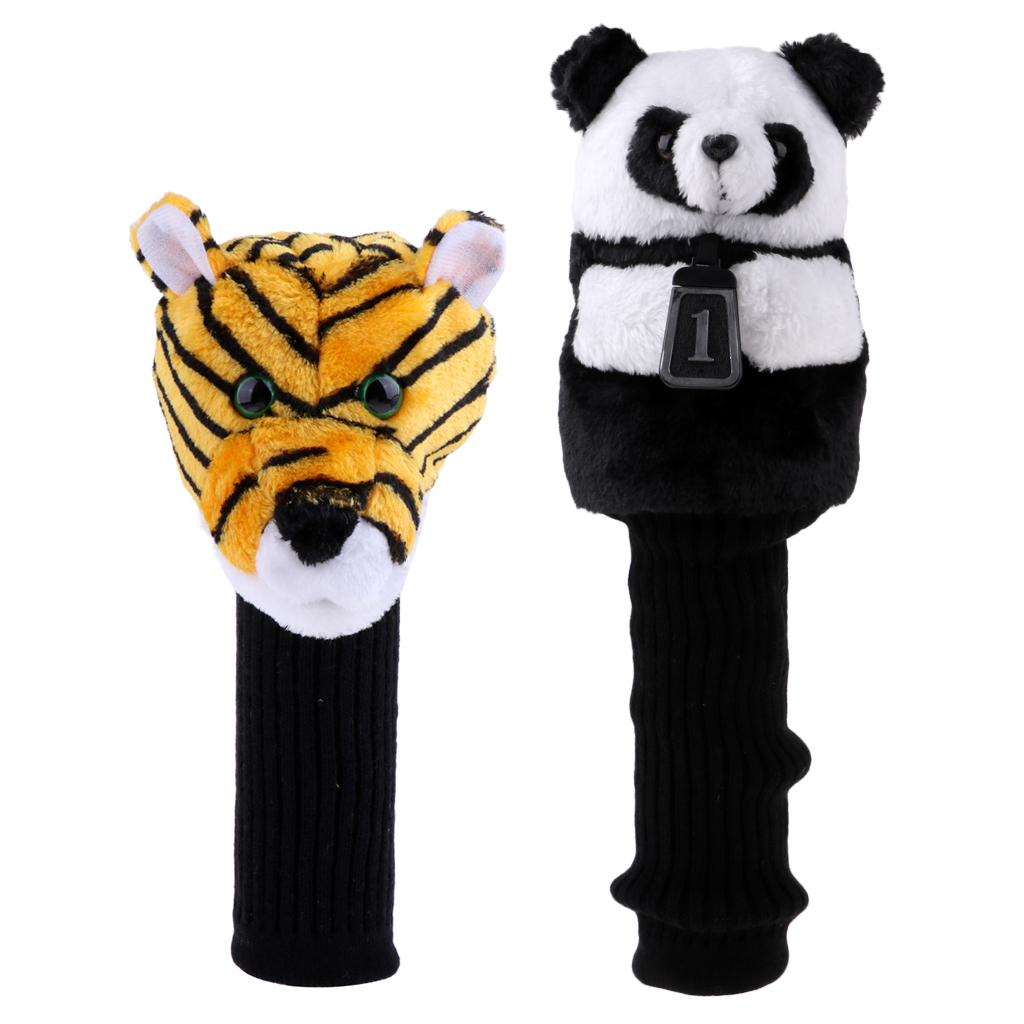 Lot 2 Premium Golf Driver Head Cover - Tiger Head + Panda Animal Headcover Universal Fits Up To 460 Cc