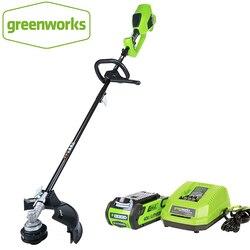 GreenWorks бесщеточный мотор 1200 Вт Мощный G-MAX 40В 14-дюймовый беспроводной строковый триммер, аккумулятор 4ач и зарядное устройство в комплекте