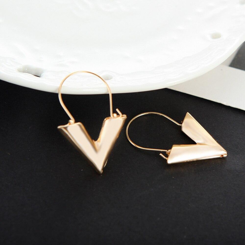 Women's earrings Europe New hot zinc alloy letter V-shaped shape pendant earrings gold silver color ladies fashion jewelry 3