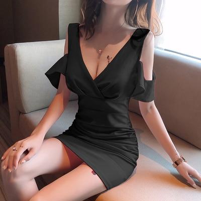 NEW Women's Dress V-neck Sexy Versatile Night Club Comfortable Uniform Slim Multi-color Temperament