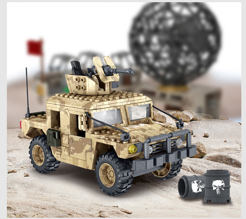 Modern Military China Swat Mega Building Block 1:36 Scale Army Action Figures Desert Hummer Jeep Bricks Toys