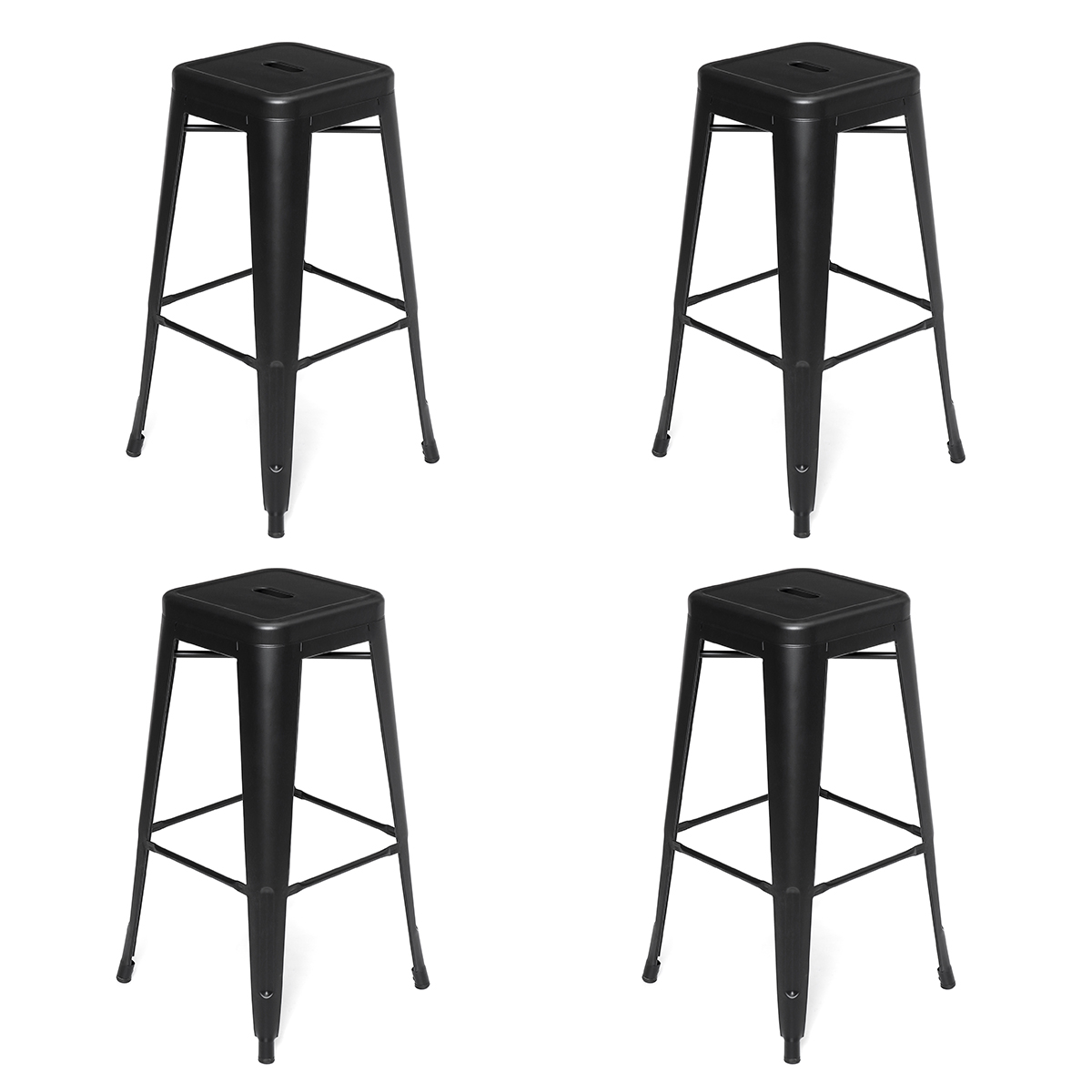 New Arrival 4PCS Black Metal Nordic Bar Stool Modern Wrought Iron Bar Chair Fashion High Stool Dining Chair For Bar Home Kitchen