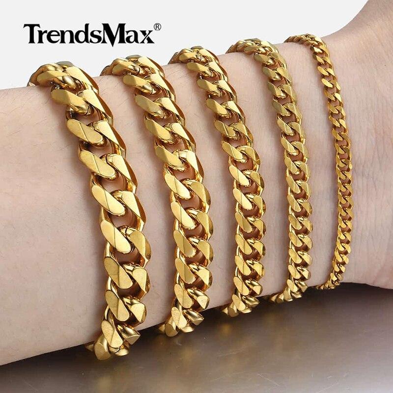 Kadın erkek bilezik paslanmaz çelik küba link zinciri bilezikler altın gümüş renk moda toptan takı KBB10