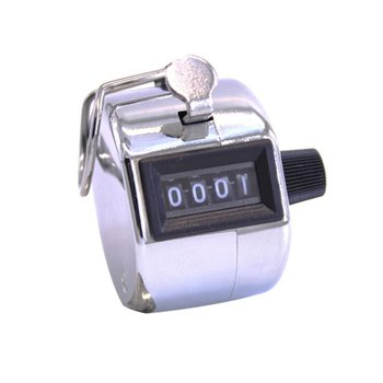 Metal 4 Digit Manual Mechanical Counter Palm Counters Hand Clicker Tally Training Timer Childrens Educational Toys