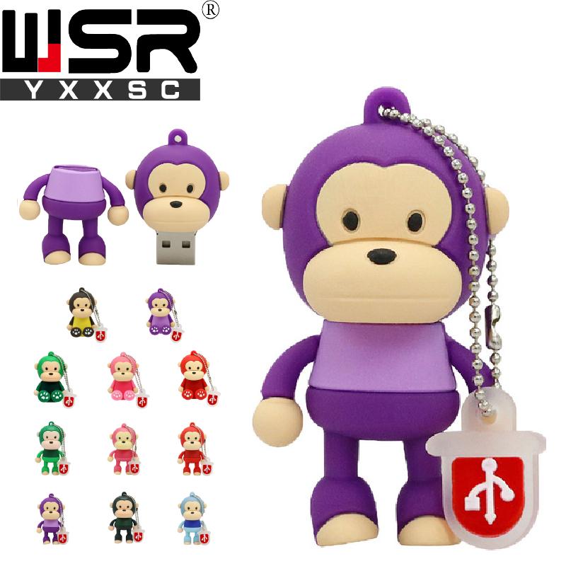Usb2.0 Pen Drive 32gb  64gb 128gb Cute Cartoon Funny Purple Monkey Disk On Key  4gb 8gb 16gb High Speed Waterproof Computer Gift