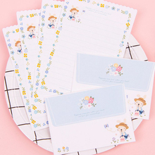 Letter Envelope Paper-Set Writing-Paper Love Cute Flower 4-Sheet Office-Supplies