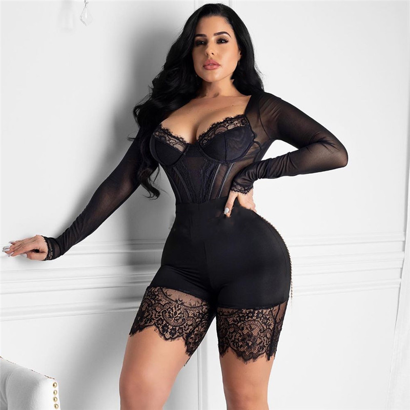 Haca2e2c44dbf41cc894fb5b8432c8c6fk - WUHE Lace Patchwork Sexy Spaghetti Strap Jumpsuits Women Off Shoulder Sleeveless Elegant Bodycon Bandage Party Short Playsuits