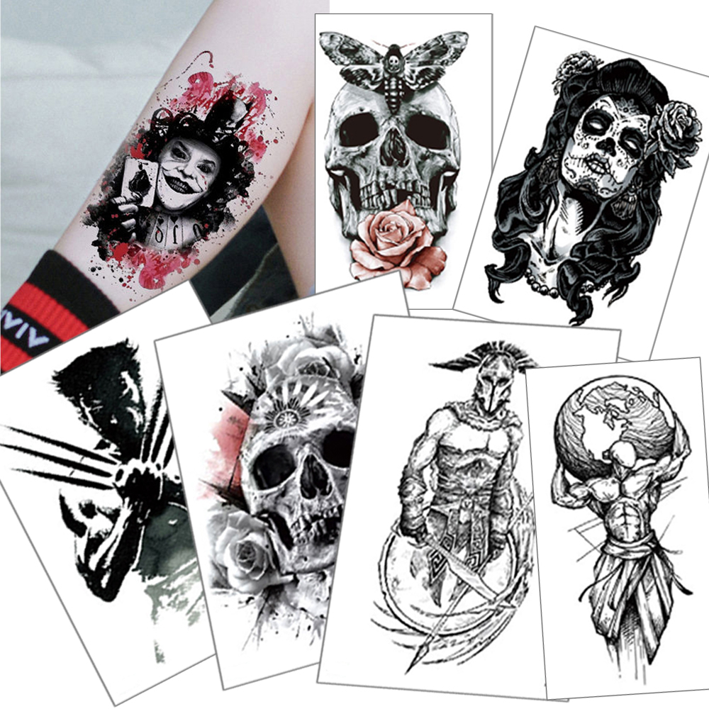 Temporary Tattoo Stickers Demon Skull  Suicide Squad Tattoo Joker Black Waterproof Fake Tattoo 210*148mm